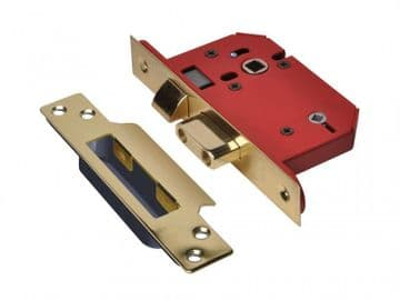 StrongBOLT 22WCS Mortice Bathroom Lock Polished Brass 81mm 3in Visi